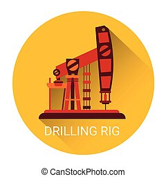Pumpjack Oil Rig Crane Icon Flat Vector Illustration