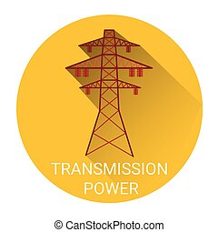 Transmission Power Tower Icon Flat Vector Illustration