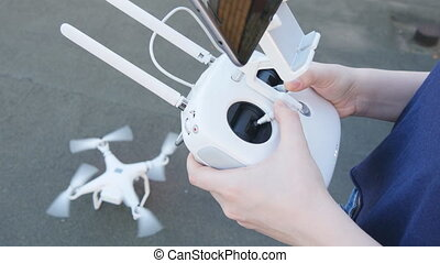drone copter starts its engine - drone copter with a digital...