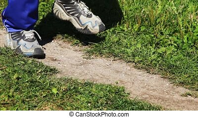 boots for run close-up running on place on lane in parks in...