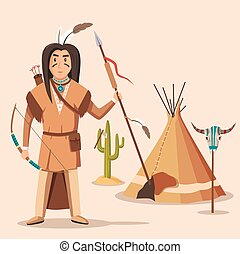 American or indigenous, aboriginal indians with bow or...
