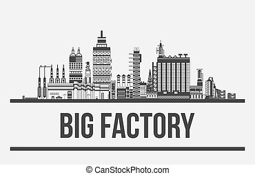 Big factory or plant, manufactory or works exterior. Outline of chimneys and cars,lamp and pipelines. Facade silhouette of assembly line. Can be used for pollution and standardization,technology theme