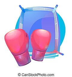 Boxing protective gloves on top of ring with corners. Combat...