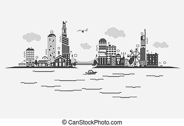 Black contoured buildings of a city on sea with boat, sky with clouds and airplane, bridge with car and ferris wheel. Panorama silhouette of skyscrapers at densely populated district of municipality