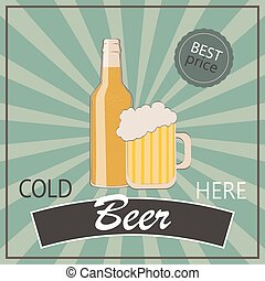 Vintage poster template for cold beer. Bottle and glass of beer