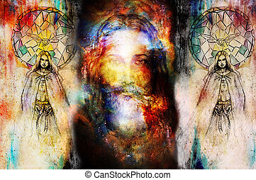 Jesus and beautiful angel being with dove and sprig,...