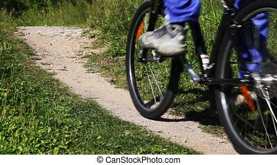 footpath close up in park on which passes black bicycle in...