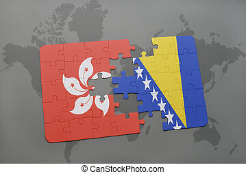puzzle with the national flag of hong kong and bosnia and...