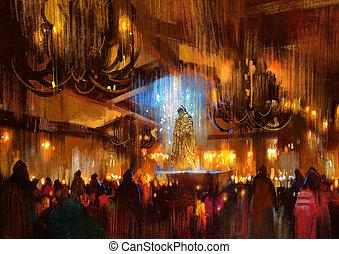 people praying at holy night