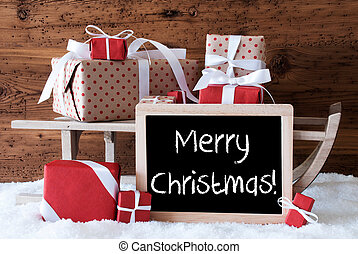 texto, regalos, nieve, alegre,  sleigh, navidad