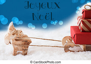 Reindeer With Sled, Blue Background, Joyeux Noel Means Merry...
