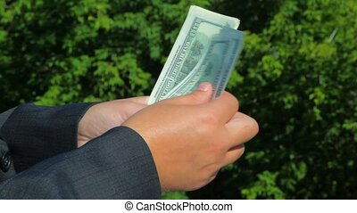 dollars in hands against green nature background