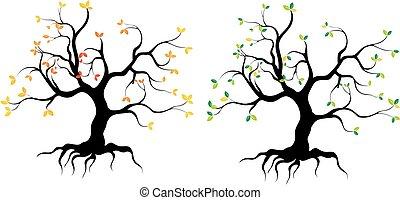 arvores do outono - arvores, vector, outono, folhas, brazil