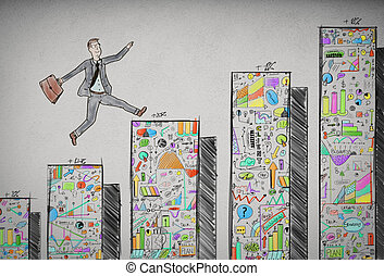 Economic conquest - Businessman jumping on the steps of the...