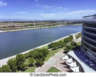 Salt Lake River, Tempe, AZ - Bird-eye view at Sail River...
