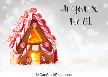 Gingerbread House, Silver Background, Joyeux Noel Means...