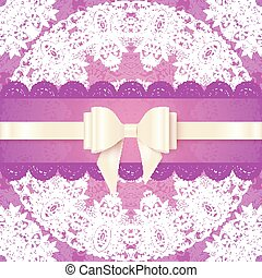 Pink lacy wedding card template with silky bow - Pink lacy...
