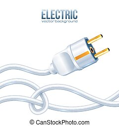 White electric plug and cables, vector illustration