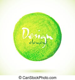 Green acrylic paint circle, vector texture for your design
