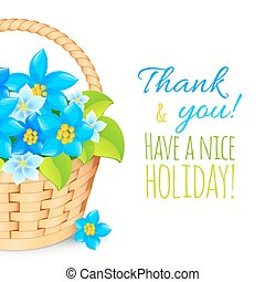 Basket with blue flowers. Greeting card template.