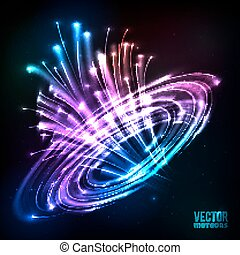 Neon lights vector cosmic explode - Neon rainbow colors...