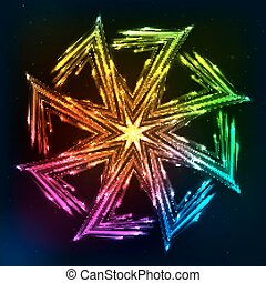 Bright neon lights vector sun symbol - Bright neon rainbow...