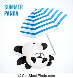 Little cute panda taking sunbath under blue umbrella. Vector...