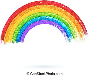 Acrylic painted rainbow, vector illustration - Acrylic...