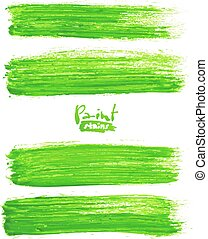 Bright green acrylic brush strokes, vector elements for your...