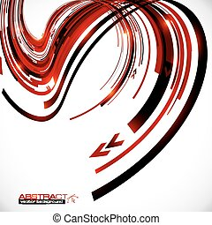 Abstract dark red curves futuristic background - Abstract...