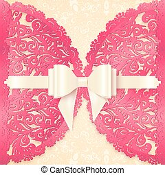 Pink ornate lace vector greeting card template