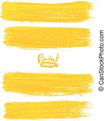 Bright yellow acrylic brush strokes, vector elements for...