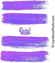 Bright violet acrylic brush strokes, vector elements for...