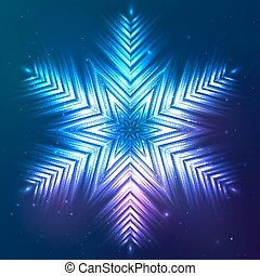 Cosmic shining vector abstract snowflake - Cosmic blue...