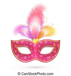 Pink carnival mask with feathers - Pink vector carnival mask...
