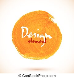 Orange vector isolated acrylic paint circle - Orange vector...