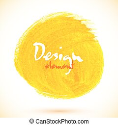 Yellow acrylic paint circle, vector texture for your design