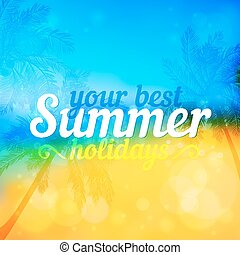 Sunny summer vector backdrop with palms - Sunny summer...