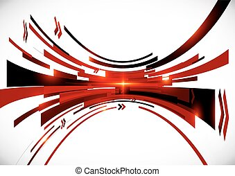Abstract vector black and red perspective background -...