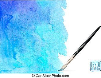 Realistic vector brush on watercolor background - Realistic...