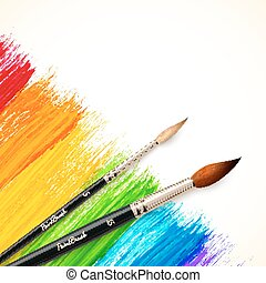 Acrylic painted rainbow background with brushes, vector...