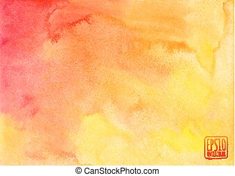 Orange watercolor vector background in album format