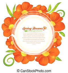 Orange flowers circle vector frame - Orange beautiful poppy...