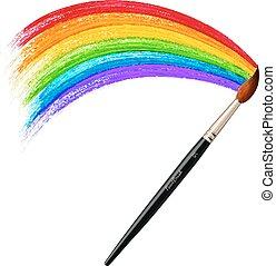 Vector brush painting rainbow