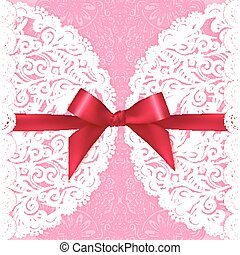 Pink lacy vector wedding card template