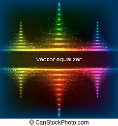 Neon equalizer vector pyramides - Neon rainbow colors...