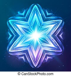 Abstract vector shining cosmic star - Abstract blue neon...