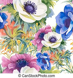 Beautiful Watercolor Summer Garden Blooming Flowers Seamless...