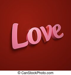 Crimson realistic plastic vector Love sign on red background