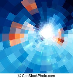 Blue abstract concentric mosaic tiles background - Blue...